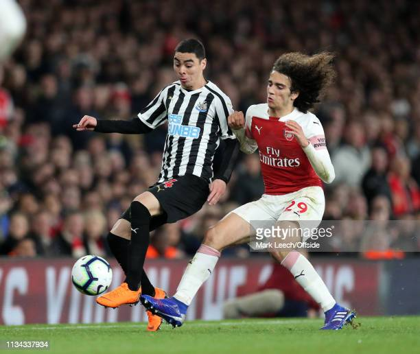 Miguel Almiron of Newcastle and Matteo Guendouzi of Arsenal during the Premier League match between Arsenal FC and Newcastle United at Emirates...