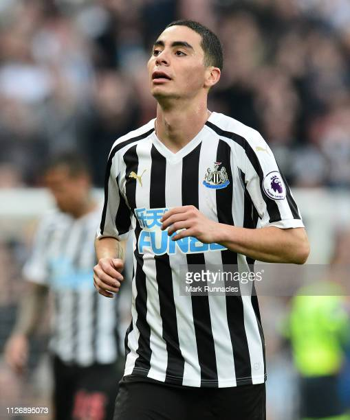 Miguel Almiron of Newcastle in action during the Premier League match between Newcastle United and Huddersfield Town at St James Park on February 23...