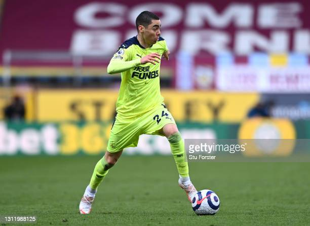 Miguel Almiron of Newcastle on the ball during the Premier League match between Burnley and Newcastle United at Turf Moor on April 11, 2021 in...