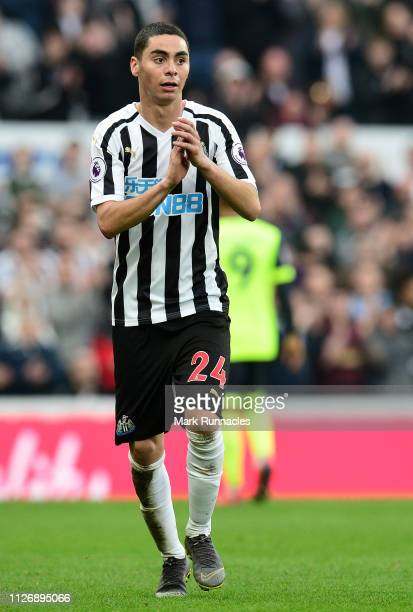 Miguel Almiron of Newcastle United applauds fans during the Premier League match between Newcastle United and Huddersfield Town at St James Park on...