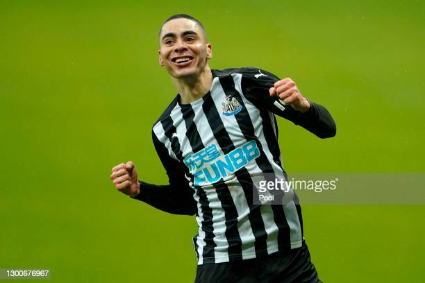 Miguel Almiron of Newcastle United celebrates after his team's second goal, an own goal by Jan Bednarek of Southampton during the Premier League...