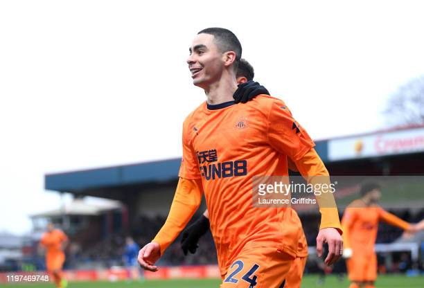 Miguel Almiron of Newcastle United celebrates after scoring his team's first goal during the FA Cup Third Round match between Rochdale AFC and...