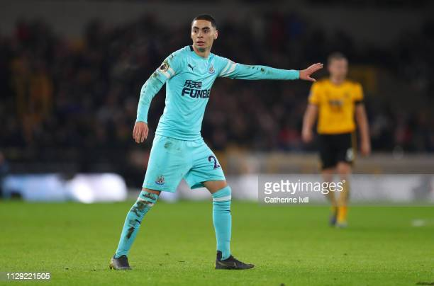 Miguel Almiron of Newcastle United during the Premier League match between Wolverhampton Wanderers and Newcastle United at Molineux on February 11...