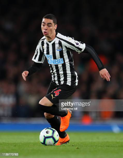 Miguel Almiron of Newcastle United during the Premier League match between Arsenal FC and Newcastle United at Emirates Stadium on April 01 2019 in...