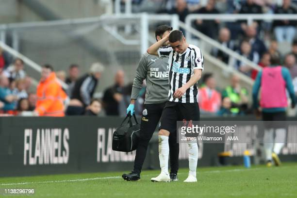 Miguel Almiron of Newcastle United leaves the field in tears due to injury during the Premier League match between Newcastle United and Southampton...