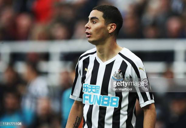 Miguel Almiron of Newcastle United looks on during the Premier League match between Newcastle United and Huddersfield Town at St James Park on...