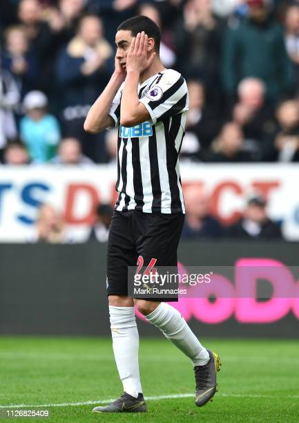 Miguel Almiron of Newcastle United reacts after hitting the bar during the Premier League match between Newcastle United and Huddersfield Town at St...