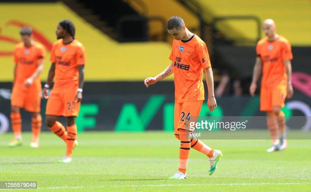 Miguel Almiron of Newcastle United reacts after the Premier League match between Watford FC and Newcastle United at Vicarage Road on July 11 2020 in...