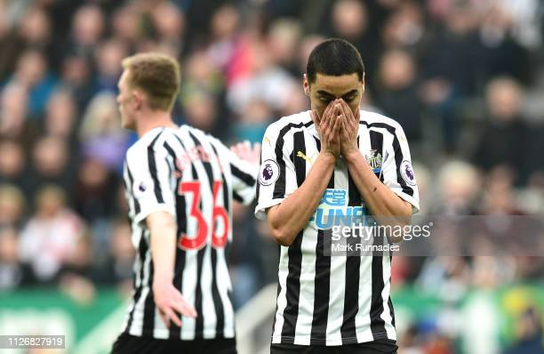 Miguel Almiron of Newcastle United reacts during the Premier League match between Newcastle United and Huddersfield Town at St James Park on February...