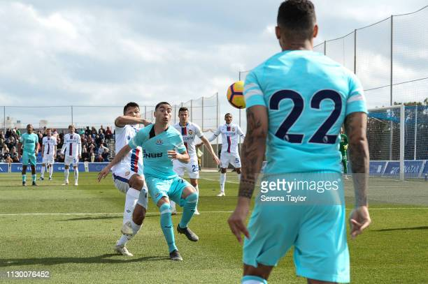 Miguel Almiron of Newcastle United receives the ball from DeAndre Yedlin during the friendly match between Newcastle United and CSKA Moscow at...