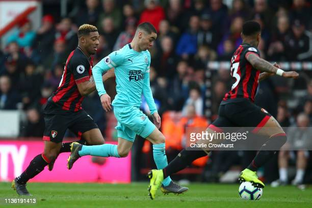 Miguel Almiron of Newcastle United runs with the ball during the Premier League match between AFC Bournemouth and Newcastle United at Vitality...