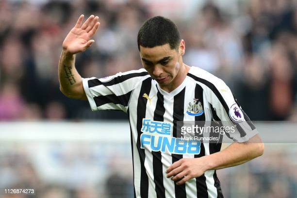 Miguel Almiron of Newcastle United shows appreciation to the fans following victory in the Premier League match between Newcastle United and...