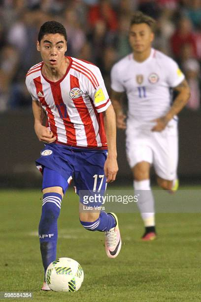 Miguel Almiron of Paraguay drives the ball during a match between Paraguay and Chile as part of FIFA 2018 World Cup Qualifiers at Defensores del...