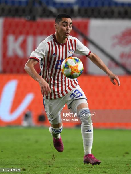 Miguel Almiron of Paraguay in action during the international friendly match between Japan and Paraguay at Kashima Soccer Stadium on September 05...