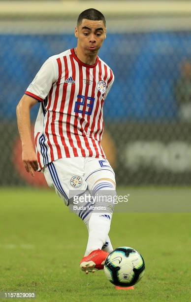 Miguel Almiron of Paraguay kicks the ball during the Copa America Brazil 2019 group B match between Colombia and Paraguay at Arena Fonte Nova on June...