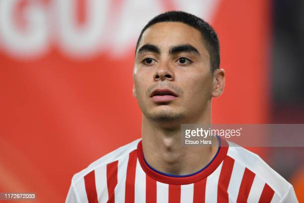 Miguel Almiron of Paraguay looks on prior to the international friendly match between Japan and Paraguay at Kashima Soccer Stadium on September 05,...