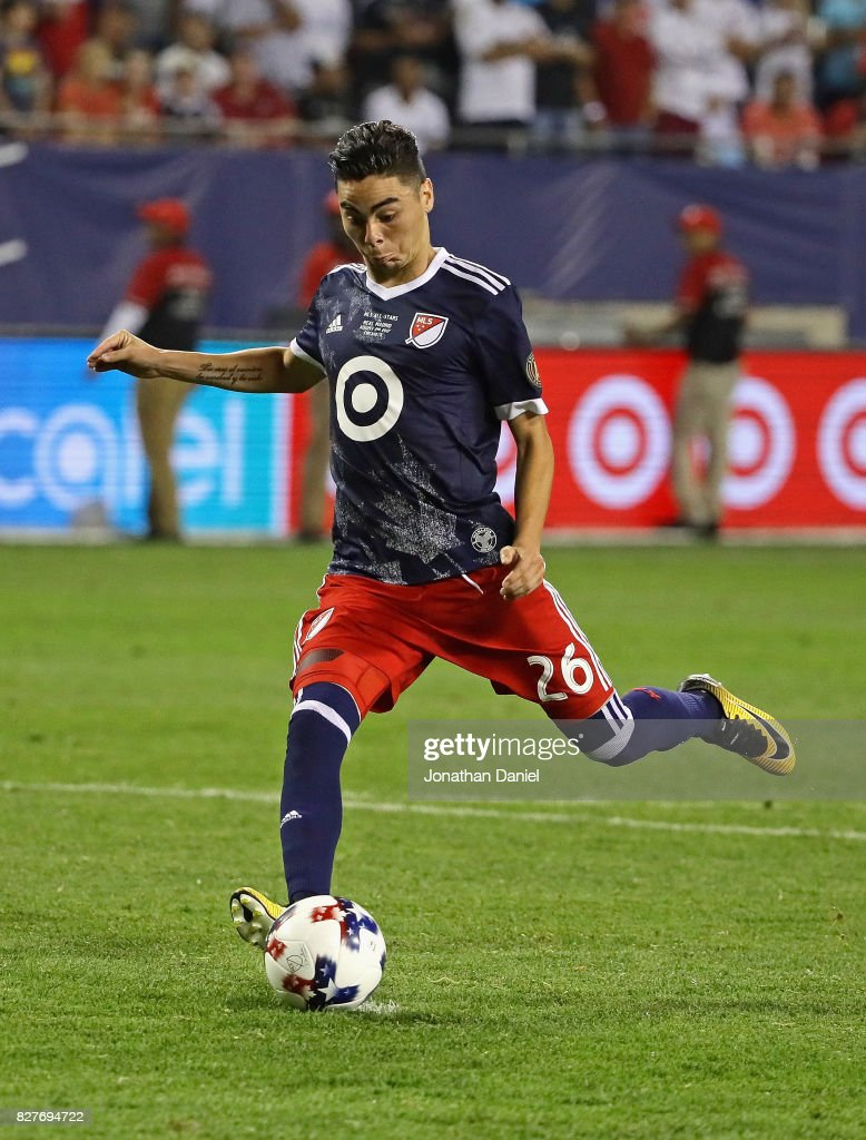 Miguel Almiron #26 of the MLS All-Stars shoots against Real Madrid during the 2017 MLS All- Star Game at Soldier Field on August 2, 2017 in Chicago, Illinois. Real Madrid deefated the MLS All-Stars 4-2 in a shootout following a 1-1 regulation tie.