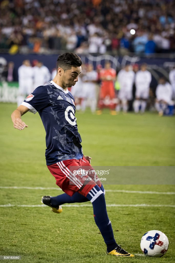 Miguel Almiron #26 of United States takes the penalty kick during the MLS All-Star match between the MLS All-Stars and Real Madrid at the Soldier Field on August 02, 2017 in Chicago, IL. The match ended in a tie of 1 to 1. Real Madrid won the match on a 4 to 2 in penalty kicks.