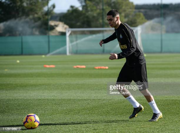 Miguel Almiron passes the ball during the Newcastle United warm weather training session at La Finca Golf Resort on February 12 2019 in Callosa de...