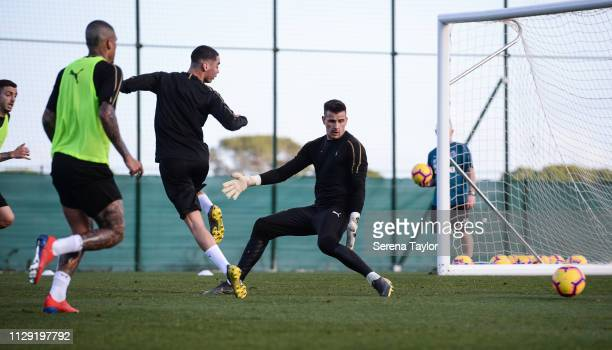 Miguel Almiron slides the ball past Goalkeeper Karl Darlow during the Newcastle United warm weather training session at La Finca Golf Resort on...