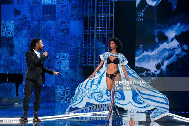 Miguel and Aiden Curtiss attend 2017 Victoria's Secret Fashion Show In Shanghai Show at MercedesBenz Arena on November 20 2017 in Shanghai China