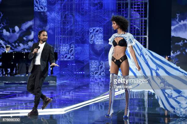 Miguel and Aiden Curtiss walk the runway during the 2017 Victoria's Secret Fashion Show In Shanghai at MercedesBenz Arena on November 20 2017 in...