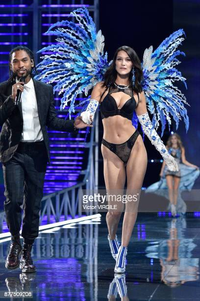 Miguel and Bella Hadid walks the runway at the 2017 Victoria's Secret Fashion Show In Shanghai Show at MercedesBenz Arena on November 20 2017 in...