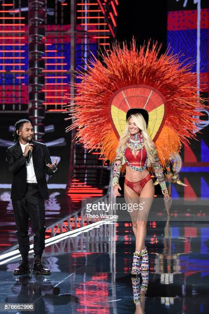 Miguel and Candice Swanepoel walk the runway during the 2017 Victoria's Secret Fashion Show In Shanghai at MercedesBenz Arena on November 20 2017 in...