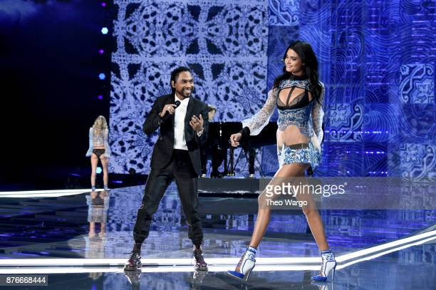 Miguel and Daniela Braga walk the runway during the 2017 Victoria's Secret Fashion Show In Shanghai at MercedesBenz Arena on November 20 2017 in...