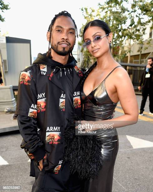 Miguel and Nazanin Mandi are seen backstage at the 2018 BET Awards at Microsoft Theater on June 24 2018 in Los Angeles California
