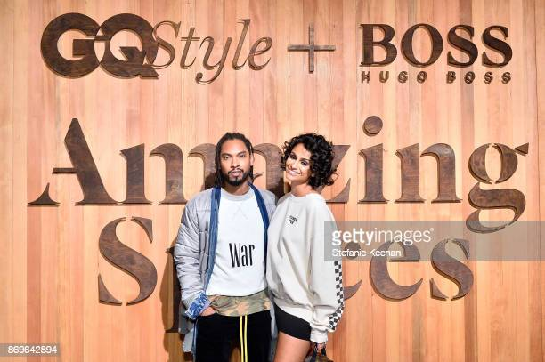 Miguel and Nazanin Mandi attend GQ Style Hugo Boss celebrate Amazing Spaces with Edgar Ramirez at John Lautner's Harvey House on November 2 2017 in...