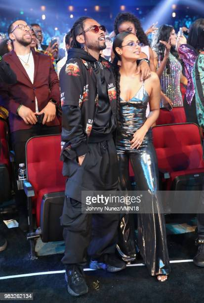 Miguel and Nazanin Mandi attend the 2018 BET Awards at Microsoft Theater on June 24 2018 in Los Angeles California