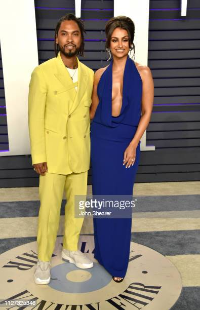 Miguel and Nazanin Mandi attend the 2019 Vanity Fair Oscar Party hosted by Radhika Jones at Wallis Annenberg Center for the Performing Arts on...