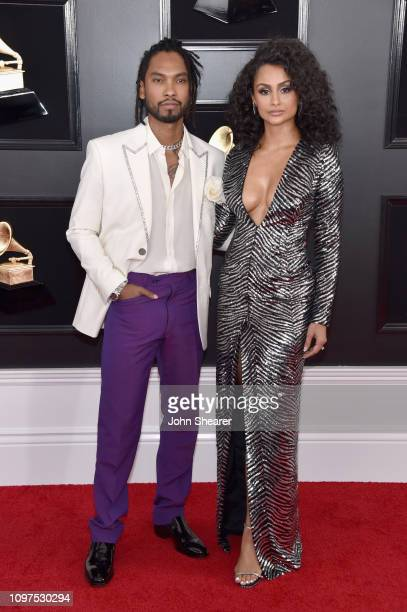 Miguel and Nazanin Mandi attend the 61st Annual GRAMMY Awards at Staples Center on February 10 2019 in Los Angeles California
