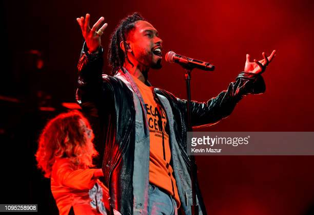 Miguel and Nikka Costa perform onstage during I Am The Highway A Tribute To Chris Cornell at The Forum on January 16 2019 in Inglewood California