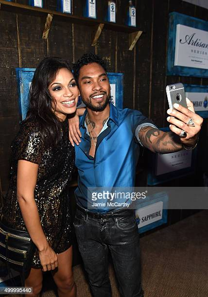 Miguel and Rosario Dawson attend The 6th Annual Bombay Sapphire Artisan Series Grand Finale Cohosted By Russell Simmons And Rosario Dawson During Art...