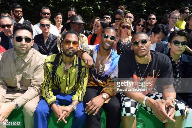 Miguel and Victor Cruz attend the Louis Vuitton Menswear Spring/Summer 2019 show as part of Paris Fashion Week on June 21 2018 in Paris France