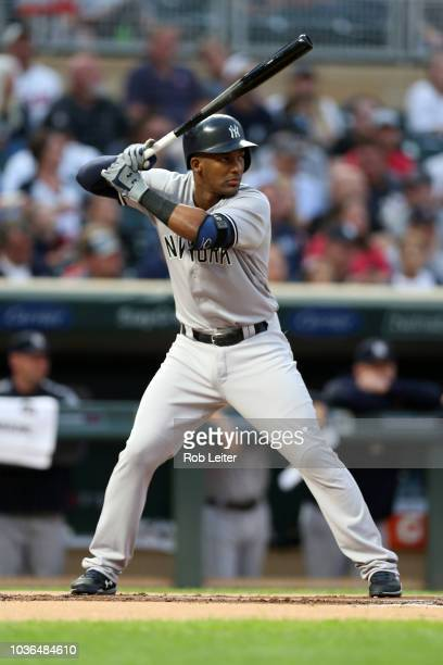 Miguel Andújar of the New York Yankees bats during the game against the Minnesota Twins at Target Field on Monday September 10 2018 in Minneapolis...