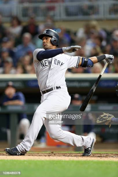Miguel Andújar of the New York Yankees bats during the game against the Minnesota Twins at Target Field on Monday September 11 2018 in Minneapolis...