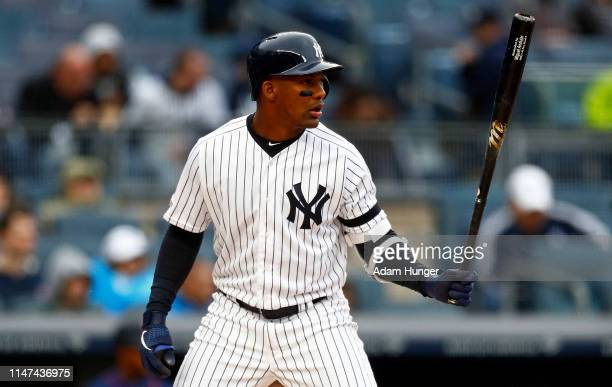 Miguel Andujar of the New York Yankees at bat against the Minnesota Twins during the first inning at Yankee Stadium on May 5, 2019 in the Bronx...