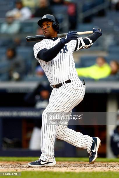 Miguel Andujar of the New York Yankees at bat against the Minnesota Twins during the third inning at Yankee Stadium on May 5, 2019 in the Bronx...
