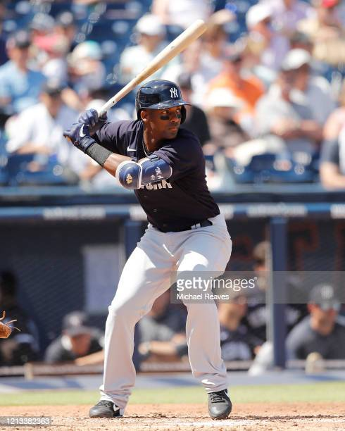 Miguel Andujar of the New York Yankees at bat against the Washington Nationals during a Grapefruit League spring training game at FITTEAM Ballpark of...