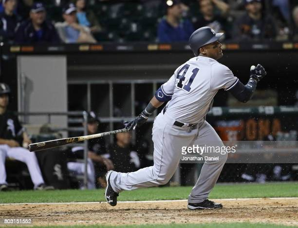 Miguel Andujar of the New York Yankees bats against the Chicago White Sox at Guaranteed Rate Field on June 28 2017 in Chicago Illinois