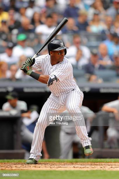 Miguel Andujar of the New York Yankees bats during a game against the Houston Astros at Yankee Stadium on Monday May 28 2018 in the Bronx borough of...