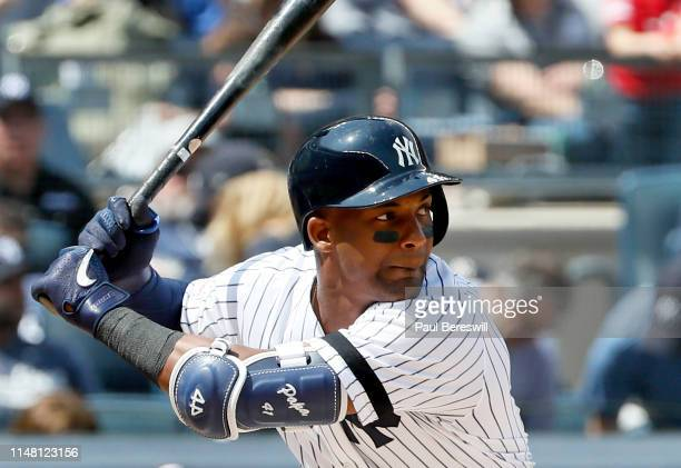 Miguel Andujar of the New York Yankees bats during an MLB baseball game against the Minnesota Twins on May 4, 2019 at Yankee Stadium in the Bronx...
