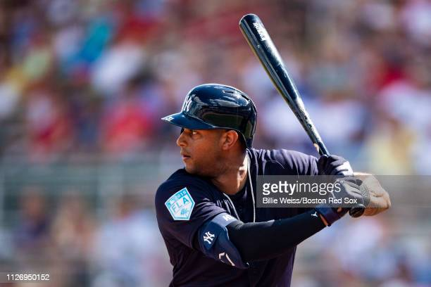 Miguel Andujar of the New York Yankees bats during the first inning of a game against the Boston Red Sox on February 23, 2019 at JetBlue Park at...