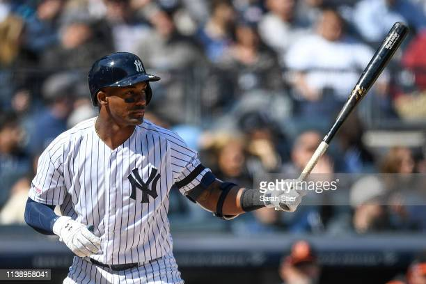 Miguel Andujar of the New York Yankees bats during the first inning of the game against the Baltimore Orioles during Opening Day at Yankee Stadium on...