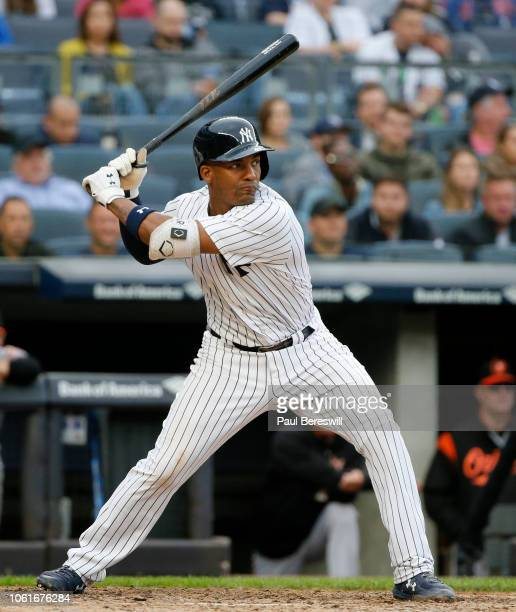 Miguel Andujar of the New York Yankees bats in an MLB baseball game against the Baltimore Orioles on September 23 2018 at Yankee Stadium in the Bronx...