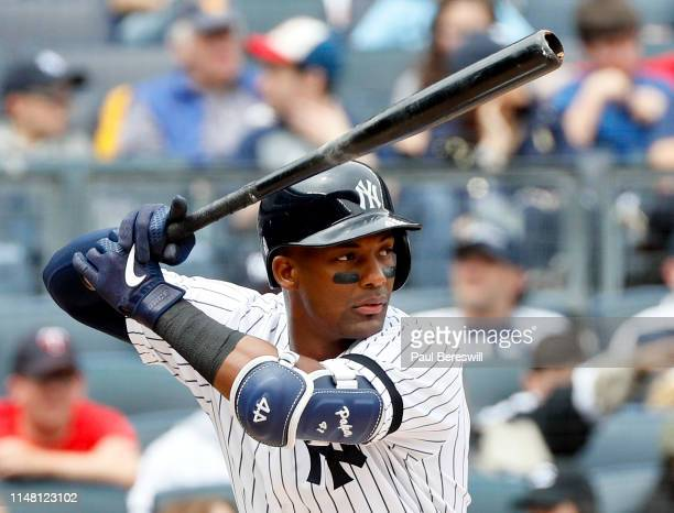 Miguel Andujar of the New York Yankees bats in an MLB baseball game against the Minnesota Twins on May 4, 2019 at Yankee Stadium in the Bronx borough...