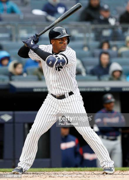 Miguel Andujar of the New York Yankees bats in an MLB baseball game against the Minnesota Twins on May 5, 2019 at Yankee Stadium in the Bronx borough...